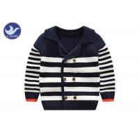China Tailored Collar Boys Kids Sweater Coat Stripes Contrast Color Edge Outwear on sale