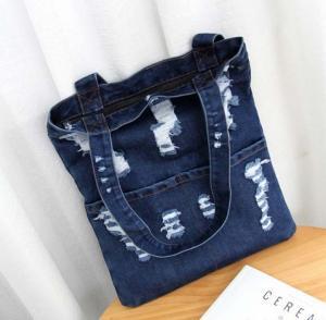 Summer fashion hole jeans female Korean fashion large capacity bag shoulder bag shopping bag Manufactures
