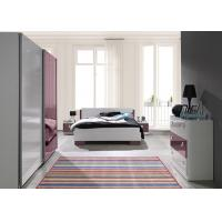 European Red and White High Gloss Home Bedroom Furniture With Mirror Sliding Wardrobe Manufactures