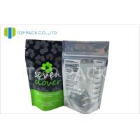 Green Printed Laminated Pouches , Cannabis Stand Up Ziplock Bags Front Clear Back Foil Manufactures