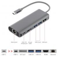 China USB-C Hub Aluminum Type C Adapter with HDMI Port Gigabit Ethernet Port USB C Power Delivery 2 USB 3.0 Ports SD Card on sale