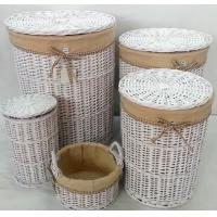 Round white willow wicker laundry basket with lid and liner for set 3 for sale of ec91137927 - Wicker laundry basket with liner and lid ...