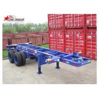 Container Transport Tri Axle Skeletal Trailer , Red Multi Function Skeletal Trailer Manufactures