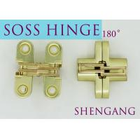 "Satin Brass Soss Stainless Steel Concealed Hinges , Wings measure 3/8"" Wide x 1-11/16"" Long for 1/2"" , SOSS #101 Manufactures"