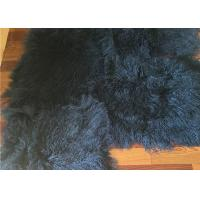 Quality 2 *4' Navy Blue Mongolian Fur Throw Blanket , Large Sofa Throws Anti Wrinkle for sale