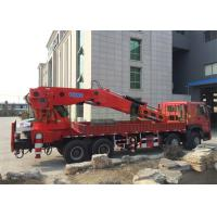 China Red Truck Mounted Boom Crane , Truck Mounted Lifting Equipment Knuckle Boom on sale