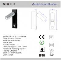 Rotating indoor IP40 headboard wall light 3W LED wall lighting/led reading lamp hotel Manufactures