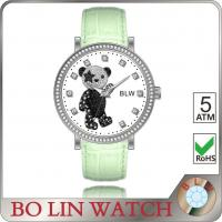 Casual Laides Colored Genuine Leather Watches With Cubic Diamond Bear Dial Manufactures