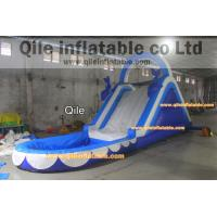 dolphins inflatable wet & dry slide with pool,pool can removed ,double wave slide Manufactures