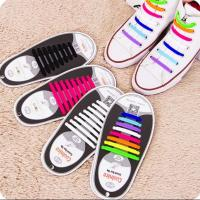 Cool Nice Unisex Man Women No Tie Silicone Shoelace Sneaker Rubber Shoelace, 8+8 Design With 12 Colors,For Sport Gift Manufactures