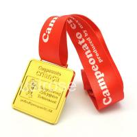 Gold metal commemorative medals are customized, square zinc alloy medals are customized, 3D medals equipped with ribbon