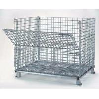Quality Foldable Wire Mesh Storage Cages Stackable Basket Container 800kg Load Capacity for sale