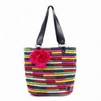 China Corn Husk Straw Bag in Contrast Color, with Synthetic Leather Handle and Flower Decoration on sale