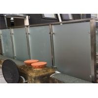Exterior Frosted Stainless Steel Glass Railing With Square Post , Strong Sense Of Security Manufactures