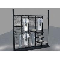 Environmental Metal Material Metal Black Clothing Rack For Garment Mall Displaying Manufactures