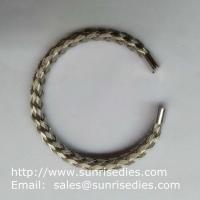 China 304 stainless steel wire braided bangle, stock stainless steel wire bracelet wholesale on sale