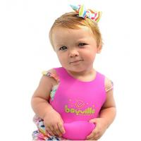 Free sample hot sel pinkl silicone baby bib with pocket cheap price for sale