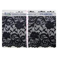 Quality Black Elastic Lace Nylon Spandex Fabric Water Soluble 15cm Width CY-HB0385 for sale