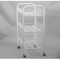 Basket Trolley Powder Coated Shelving , White Coated Wire Shelving With Scroll Design Manufactures