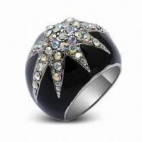 Fashionable Rings with Rhodium Plating and Crystal, OEM Orders are Welcome Manufactures