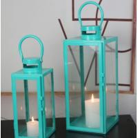 China blue color set of 2 glass metal square candle Lantern Garden Night Wedding Outdoor Tea Light Decor on sale