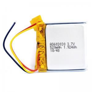 Overcurrent Protection 520mAh 3.7 V Li Ion Polymer Battery PL603030 Manufactures