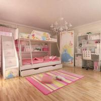 E0 Grade Bunk Bed, Kids' Bedroom Set Children Furniture, Wooden Bedroom, Princess, Disney, Chair Manufactures