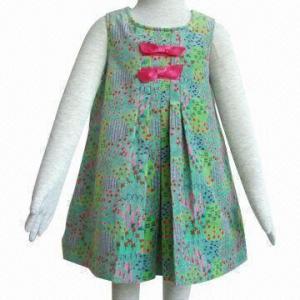 China Girls' Dresses, Made of 100% Cotton Velvet Fabric on sale