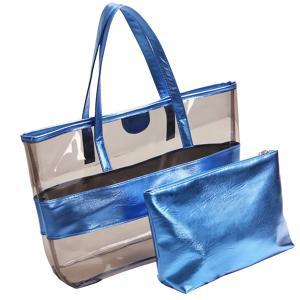 China Women Tote Handbag Semi clear-PVC Beach Bag Shoulder Bag Stripe Fasion bag Design From China Factory Supplier,good price on sale