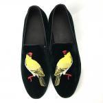 Low Cup Mens Suede Tassel Loafers / Mens Black Velvet Slippers Cashmere Upper Manufactures
