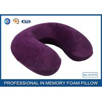 Purple Jacquard Velour Cover Memory Foam Travel Neck Pillow With Ergonomic Design Manufactures