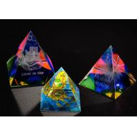 China 3D Engraved Crystal Trophy Cup Colorful Glass Awards As Competition Souvenirs on sale