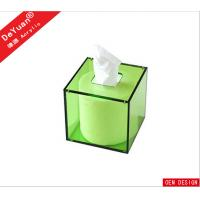 Buy cheap Magnetic Square Green Acrylic Tissue Box Cover For Restaurant from wholesalers