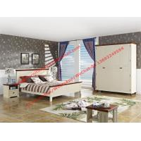 Mediterranean Style Apartment home use bedroom furniture by wood bed in white Beach panel and Brown rubber headboard Manufactures