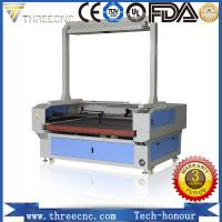 Professional laser manufacturer cnc fabric cutter with CCD and feeding table.TLF1390-CCD.THREECNC Manufactures
