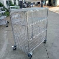 Industrial 4 Level Wire Utility Cart With Enclosures Three Sides Mesh for sale