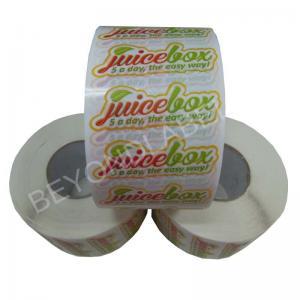 China Promotional Juice Bottle Labels , Adhesive Clear PE Beverage Label For Juice Bottle on sale