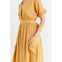 Latest Gold Linen Maxi Long Wrap V-neck Woman Dress with Pockets