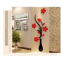 Factory cost home decoration flower vase wall decal stickers acrylic 3d Manufactures