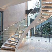 Interior solid wooden curved staircase with customized size design Manufactures