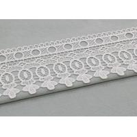 Vintage White Floral Venice Lace Trim For Clothing / Wide Bridal Wedding Lace Fabric Manufactures