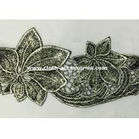 China Silver Antique Machine Embroidery Lace Trim With Metallic Foil Print on sale