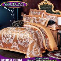 Golden Color King Size Cotton Fabric Luxury Wedding Jacquard Bedding Sets Manufactures