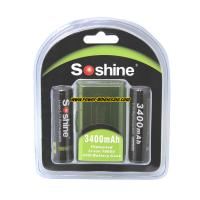 Quality Soshine 3.7V Li-ion 18650 Protected Battery: 3400mAh with button top for sale