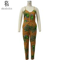 Spaghetti Strap Women African Print Jumpsuit For Summer / Spring Brown Color Manufactures