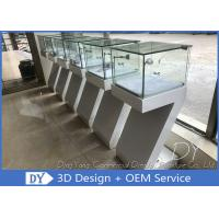 Modern White Wood Countertop Jewelry Display Cases  450 X 450 X 1250MM Manufactures