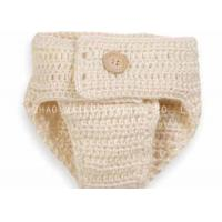 Folded Crochet Baby Diaper Sets Creme Baby Photography Props With Button for sale