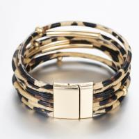 wholesale  2019  new fashion   Leopard Leather BraceletsBangles Elegant Multilayer Wrap Wide Bracelet Jewelry Manufactures