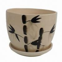 Ceramic Flower Pot with Bamboo Painting, Home Decoration, OEM Orders are Welcome