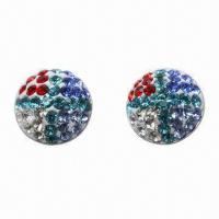 Stud Earring, Made of 925 Silver Post with Crystal Material Manufactures